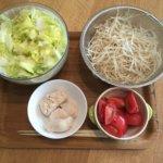日々の食事 食べ過ぎの野菜と鶏肉、お菓子はマル秘