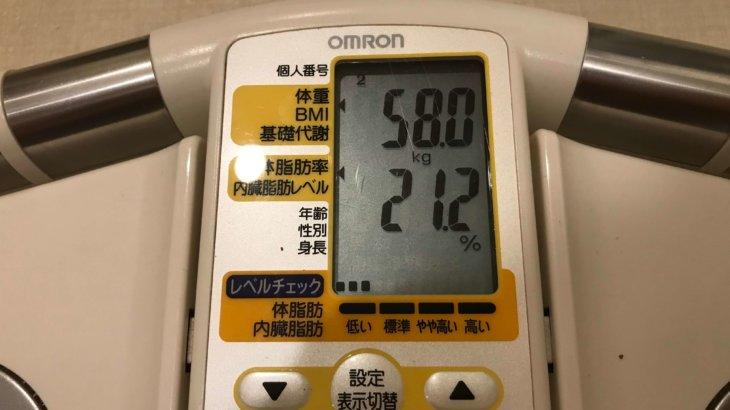 2019/8/15〜2019/8/31 体重経過と運動の記録 詳細
