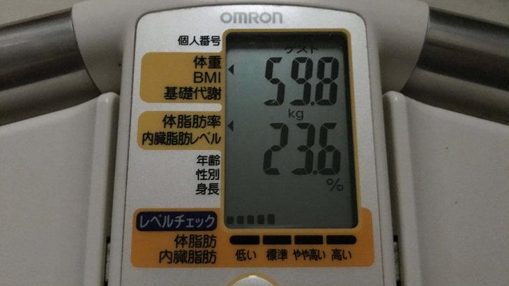 2020/6/16〜2020/7/15 体重経過と運動の記録 詳細